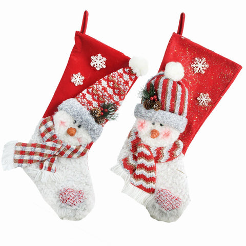 "2 Asst 22"" Fabric Snowman Stocking"
