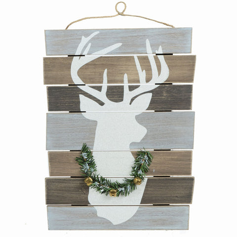 "14"" X 19"" Hanging Wood Deer Plaque"