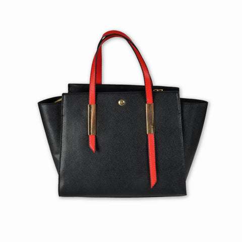 Black Tote Bag with Red Handles