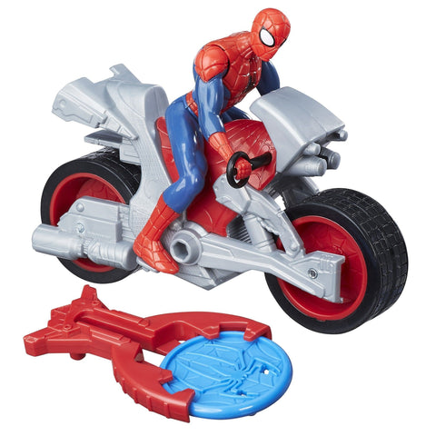Marvel Spider-Man - Spider-Man avec moto Blast N' Go | Marvel Spider-Man Blast N' Go Racer Spider-Man with Cycle