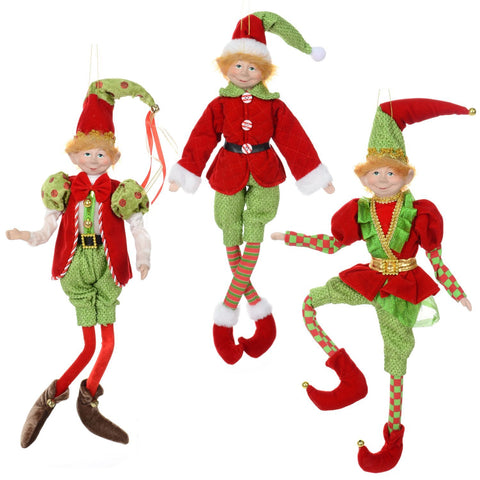 "3 Asst,18"" Flexible Hanging Fabric Elf"