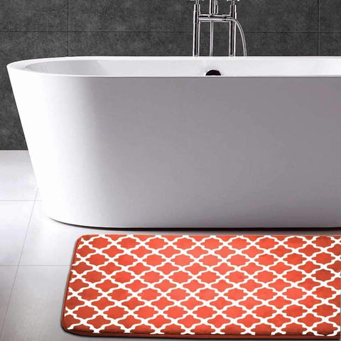 Memory Foam Bath Mat - White/Orange