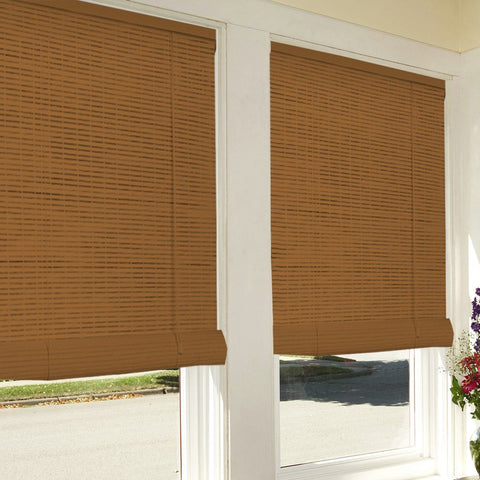 Bamboo Look Roll-Up Blinds - Oak