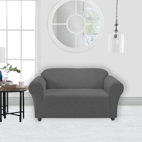 Lauren Taylor - Geometric Debossed Knit Loveseat Cover with Elastic