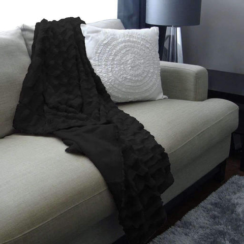 Jeté en aspect fourrure - Noir | Fur Throw - Black