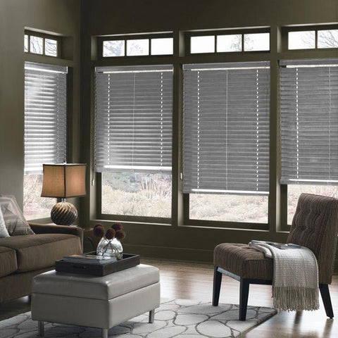 Faux Wood Blinds - Grey