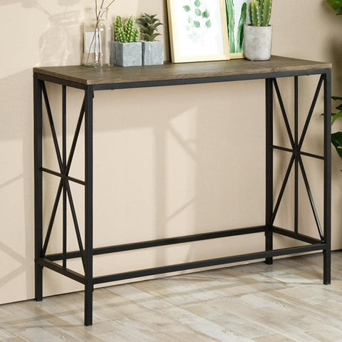 Metal Console Table with Wood Top