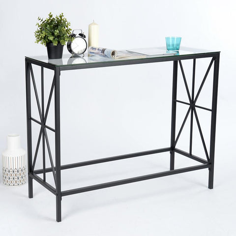 Metal Console Table with Glass Top
