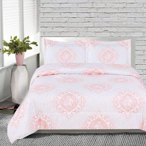India 3 Piece Comforter Set - Coral