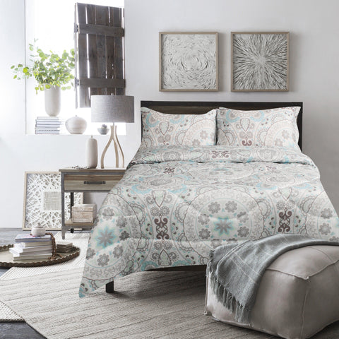 Lauren Taylor - Ensemble de douillette imprimée MF 3mcx - Medallion | Lauren Taylor - Medallion 3pc Printed MF Comforter Set
