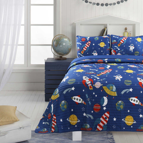 Little Adrien - 3pc Ensemble de Courtepointe - Little Martian  | Little Adrien - Little Martian 3pc Quilt Set