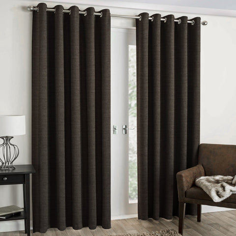 "Lauren Taylor - Textured Microsuede Grommet Panel 52""x84"" - Brown"