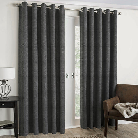 "Lauren Taylor - Textured Microsuede Grommet Panel 54""x96"" - Grey"