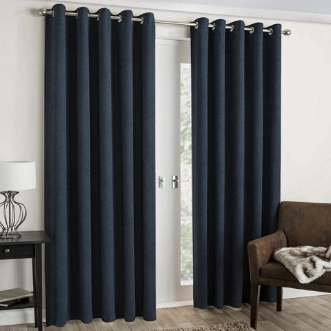 "Lauren Taylor - Textured Microsuede Grommet Panel 52""x84"" - Navy Blue"