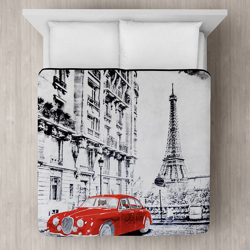 Red Car in Paris Printed Plush Mink Blanket 78x94 - Magasins Hart | Hart Stores