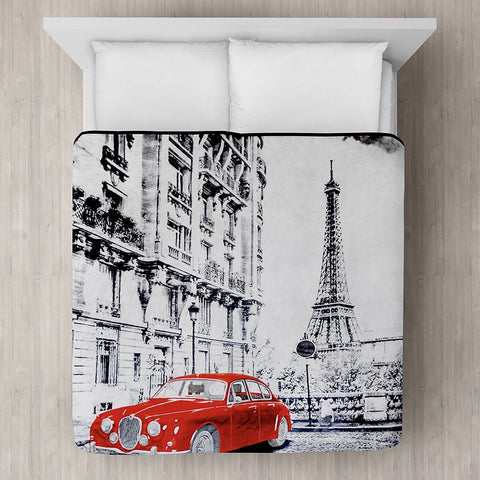 Lauren Taylor - Red Car in Paris Micro Mink Blanket