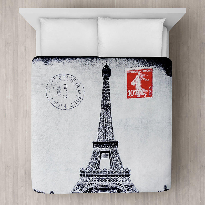 Eiffel Tower Printed Plush Mink Blanket 78x94 - Magasins Hart | Hart Stores