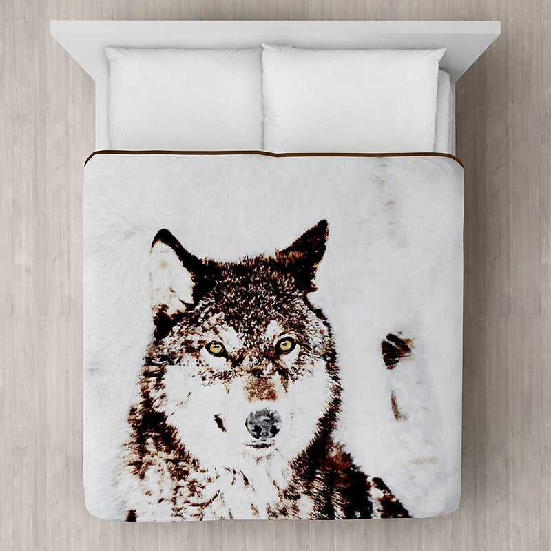Timber Wolf Printed Plush Mink Blanket 78x94 - Magasins Hart | Hart Stores