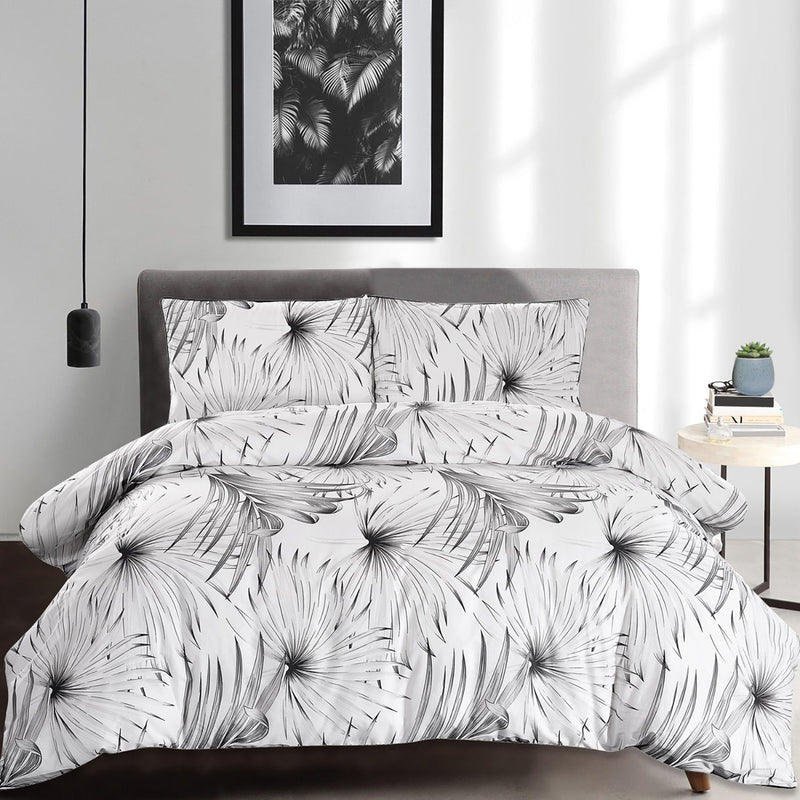 100% Cotton Palm Leaf 3 Piece Duvet Cover Set - Magasins Hart | Hart Stores