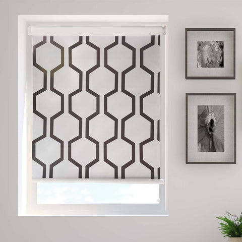 White Geometric Printed Blackout Cordless Roller Blind