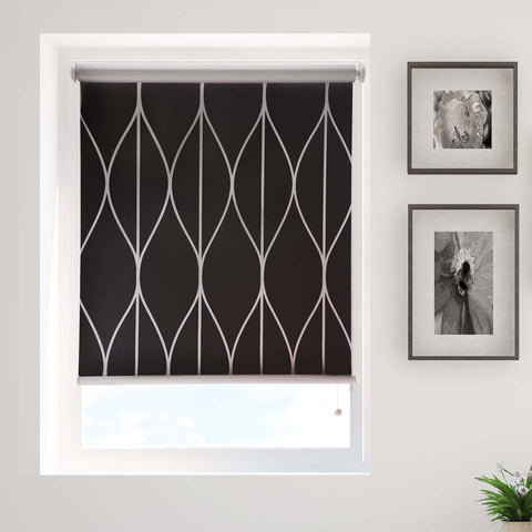 Black Geometric Printed Blackout Cordless Roller Blind