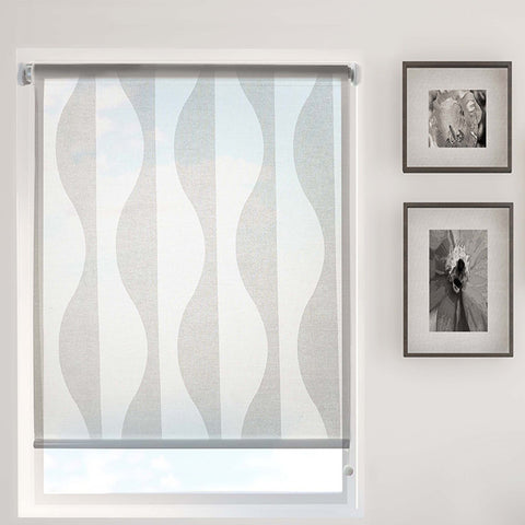 Stores à Rouleau imprimé vagues semi-transparent Daylight blanc sans cordon | White Wave Printed Semi-Sheer Daylight Cordless Roller Blind