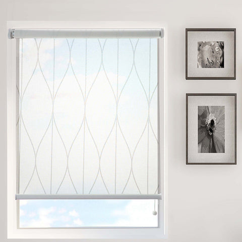 White Lines Printed Semi-Sheer Daylight Roller Blind