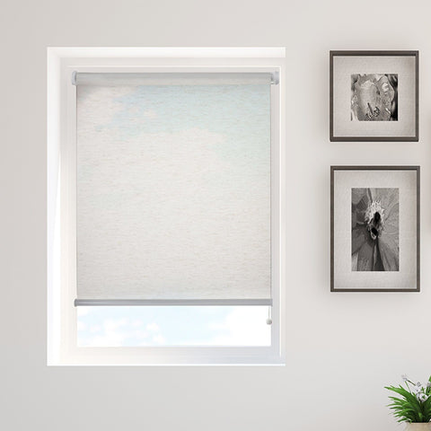 Beige Faux Linen Printed Semi-Sheer Daylight Roller Blind