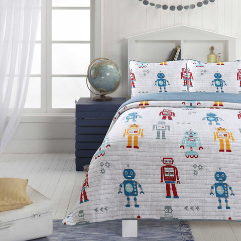 Little Adrien - 3pc Ensemble de Courtepointe - Robots  | Little Adrien - Robots 3pc Quilt Set