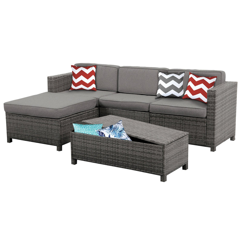 Outdoor Rattan Sectional with Grey Cushions - Magasins Hart | Hart Stores
