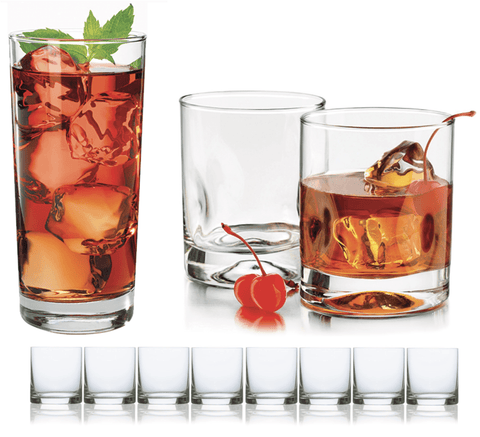Ensemble de 8 verres longs ou Whisky | Set of 8 Clear Drinking Glasses