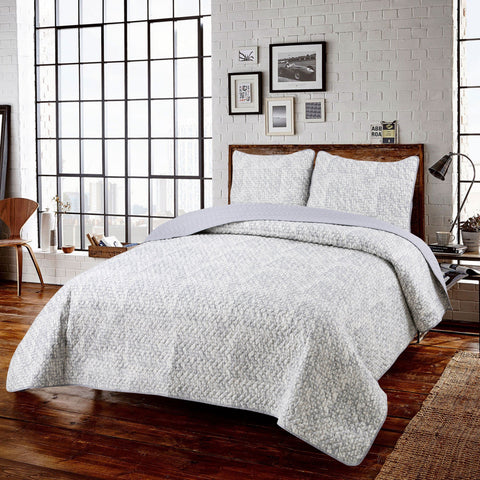 Ashton 3pc Ensemble de Courtepointe Microfibre | Ashton 3pc Microfiber Quilt Set
