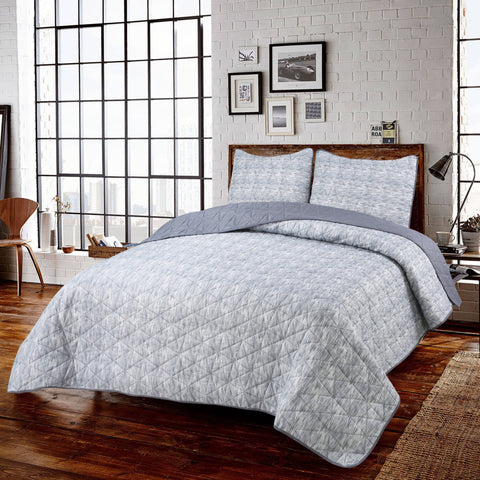 Novick 3pc Ensemble de Courtepointe Microfibre | Novick 3pc Microfiber Quilt Set
