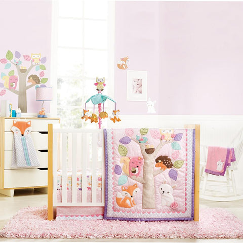 Literie pour lit de bébé 5mcx Woodland Stories | 5pc Baby Crib Bedding Woodland Stories