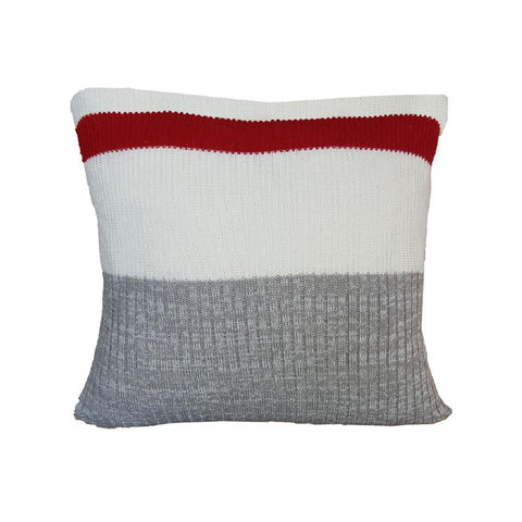 Coussin motif bas de travail | Knitted Work Sock Cushion