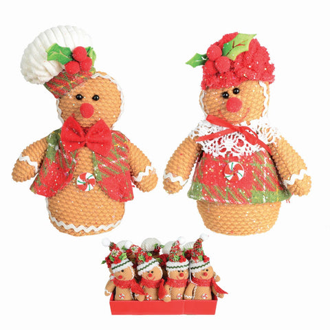 "3 Asst 6-9"" Fabric Hanging Gingerbread"