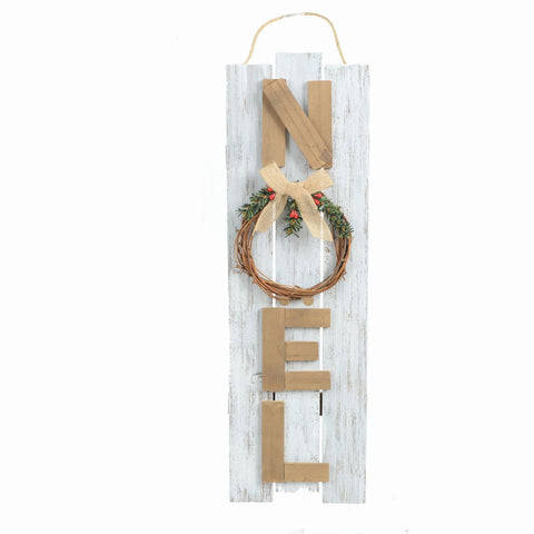 "6"" X 18.5"" Hanging Wood Noel Sign"