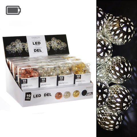 3 Asst B/O 10L Led Metal Ball Light Set