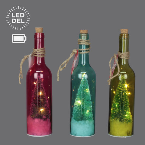 "3 Asst 11.75"" 5Led Glass Wine Bottle"