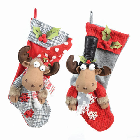 "2 Asst 20"" Fabric Reindeer Stocking"