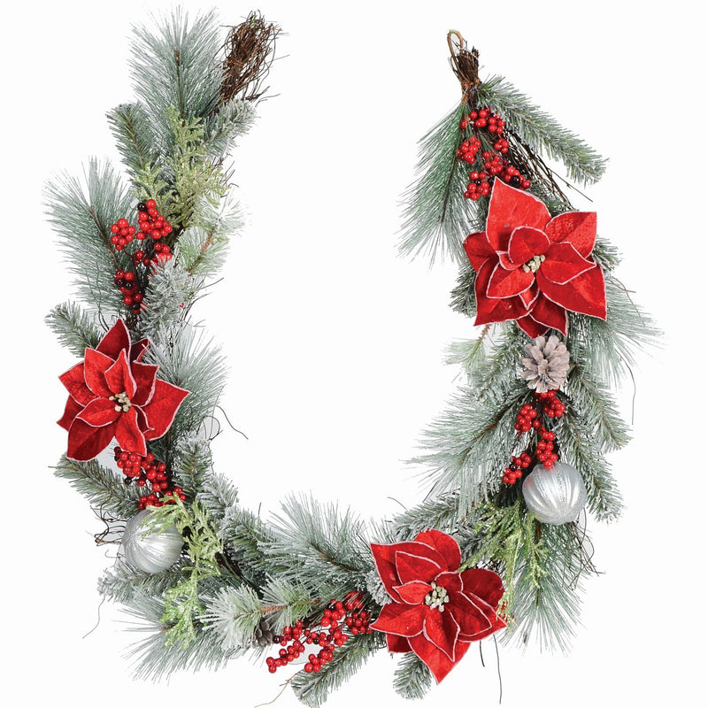 6' Fosted Mixed Pine Garland, Poinsettia - Magasins Hart | Hart Stores