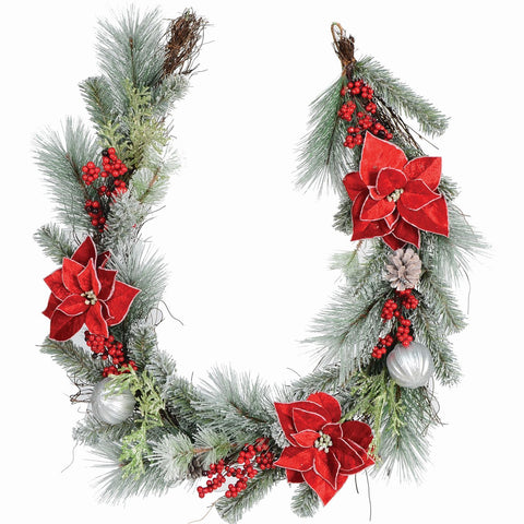 6' Fosted Mixed Pine Garland, Poinsettia