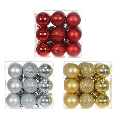 6 Asst 30Mm Shiny/Matt/Glitter Ball X27