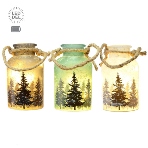 "3 Asst 7""10L Jar W/Handle,Forest Decal"