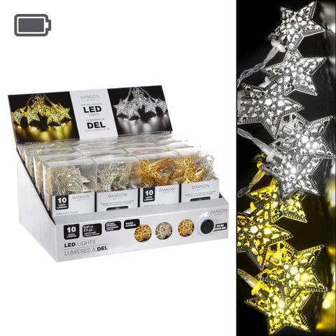 2 Asst B/O 10L Led Metal Star Light Set