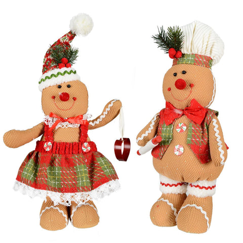 "2 Asst 17"" Fabric Stadning Gingerbread"