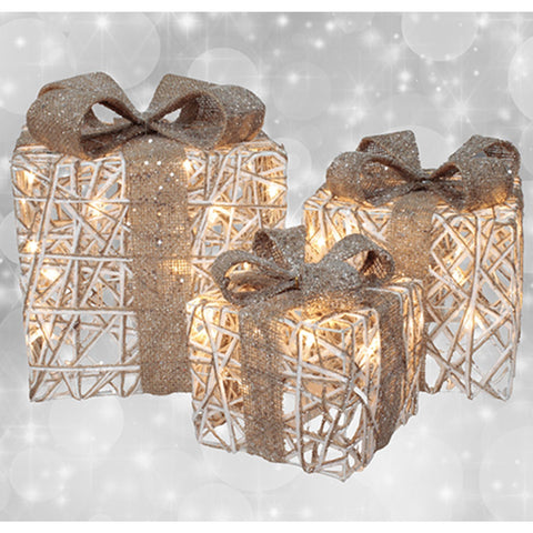 LED Light Set of 3 Metal Frame Gift Boxes