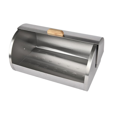 Bac ÌÊ pain acacia et acier inoxydable | Acacia and Stainless Steel Bread Bin