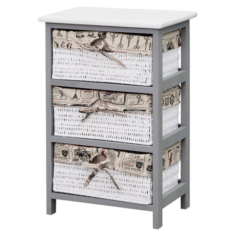 Storage Cabinet Grey Wood with 3 Baskets