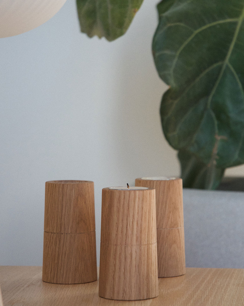 White Oak Tea Light Holder